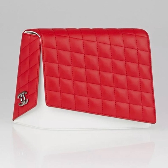 48% off CHANEL Handbags - NWT Chanel Red Fresh Air quilted clutch ... : red quilted chanel bag - Adamdwight.com